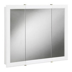 NATIONAL BRAND ALTERNATIVE - Tri-View Surface Mount Medicine Cabinet - Features: