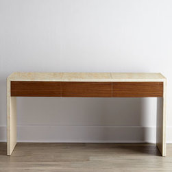 Horchow - Luella Console - Elegant in its simplicity, this sharply right-angled console features a compelling two-tone aesthetic in harmonious shades of brown with sumptuous coffee flavors. The espresso finish on the three-drawer front and the cappuccino finish on the cabinet are...