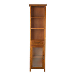 Elegant Home Fashions - 445 Elegant Home Fashions Lexington Linen Cabinet with 1 Drawer 3 open shelves - Lexington Linen Tower Storage Cabinet in an oil oak finish with crown molding on the top combines a traditional style and storage for any bathroom.  Its design offers plenty of storage with one door and one drawer with adjustable shelves and two open shelves making it easy to store items of different heights. The metal glider drawer allows for easy open and close operation. The tempered glass-paneled doors provides a clear view into the cabinet,  and features a metal handle for easy opening. This sturdy cabinet comes with assembly hardware.