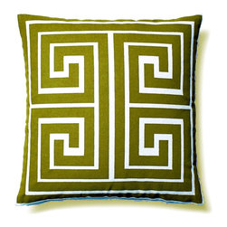 "5 Surry Lane - Modern Contemporary Greek Key Square Home Decor Accent Pillow, Green - ""This vibrant, cheery pillow will breathe new life into any space.  The eye-catching Greek Key motif adds the perfect dose of pattern and color. 100% cotton canvas.  Down insert included.  Hidden zipper closure.  Hand wash in cold water.  Made in China."