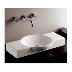 Whitehaus - Isabella Porcelain Rectangular Sink in White - Includes mounting hardware. Faucet not included. Above mount basin. Integrated round bowl. Centre drain. Single hole faucet drilling on right side. Inside: 14.5 in. Dia. x 2.75 in. H. Overall: 27.5 in. W x 15.5 in. D x 4 in. H (25 lbs.). Warranty
