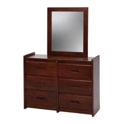 Chelsea Home - 62 in. Wooden Dresser with Mirror - Rustic style. Six drawers. Hand finished stain with three step process to compliment natural wood grain. 1 in. mirror thickness. Constructed for strength and durability. Warranty: One year. Made from solid pine wood. Dark finish. Made in USA. No assembly required. Mirror: 27 in. W x 31 in. H (9 lbs.). Dresser: 43 in. W x 17 in. D x 31 in. H (101 lbs.). Overall: 43 in. W x 17 in. D x 62 in. H (110 lbs.)