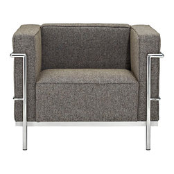 "IFN Modern - Le Corbusier LC3 Inspired Armchair-Oatmeal Tweed - Product DimensionsOverall Dimensions: 26.4"" H x 35\"" W x 27.6\"" DFabric Tweed 
