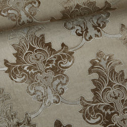 Chandy Drapery Fabric in Linen - Chandy Drapery Fabric Natural Linen Damask. Natural meets luxe with this linen appliqued with luxurious velvet in a classic damask pattern. Think beachy, classic, rich.