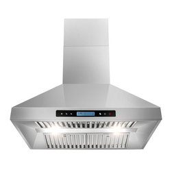 """AKDY - AKDY AG-Z10A3-IS European Stainless Steel Island Mount Range Hood, 30"""", Duct/Pip - AKDY products offer the best in contemporary design matched with the latest in appliance technologies to transform the way you live. Sporting a bold, dramatic look and state of the art features, this collection provides the perfect combination of style and innovation throughout your kitchen. The AKDY 10A3 island mount range hood features 900 CFM centrifugal blower, 6 fan speeds with ultra quiet operation perfectly for heavy cookers. Optional recirculating kits are available. Model available in 30"""" and 36"""""""