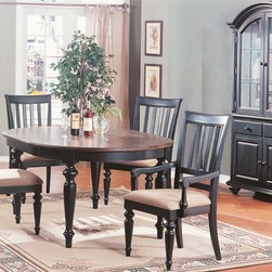 5 Pieces Vintage Style Black Wood Dining Table Set - Set Includes 1 Leaf Dining Table, 2 Arm Chair and 2 Side Chair