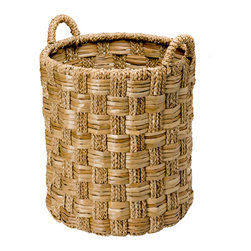 Kouboo - Round Braided Seagrass Basket, Large - Use this basket anywhere in your house whether it is your foyer or your bedroom. The tall size makes it an ideal storage basket for large items. The seagrass is woven in an intriguing pattern making this work horse pretty to look at.1 year limited warrantyHand woven from Seagrass on solid wire frameLarge holding capacityClean with a damp clothWeighs 11 lbs