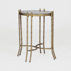 Merrill Side Table by Gabby - This cast metal bamboo table is finished in an antique brass color.  Complete with an aged mirror top, this striking Hollywood Regency side table is a stylish addition to your space.