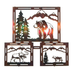 Lazart - Grizzly, Moose & Wolf Rustic Metal Wall Art Triptych 24-inch - Featuring  the  grizzly  bear,  moose  and  wolf,  this  rustic  metal  wall  art  ensemble  depicts  3  scenes  of  mountain  wildlife.  Finely  detailed  features  in  the  wildlife  and  mountain  landscapes  in  this  laser  cut  rustic  metal  wall  art  triptych  are  finished  in  a  color  wash  coating  for  realistic  hues  and  color  tones.  Constructed  from  cold-rolled  steel,  a  special  heat  transfer  process  bonds  the  finish  to  the  metal  for  long  life  and  durability.  Add  this  self-framed  rustic  metal  wall  art  to  your  favorite  room  by  ordering  today.            See  more  wildlife  rustic  metal  wall  art.                  Hand  applied  color  wash  finish  adds  rich  color  to  details              Makes  a  great  focal  point  over  fireplace  or  above  sofa