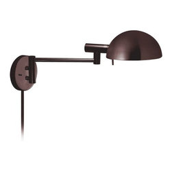 Sonneman - Sonneman 3042 E-Dome 1 Light Swing Arm Wall Sconce with Metal Dome Shade - Traditional / Classic Single Light Swing Arm Wall Lamp with Built-in High/Low Switch from the E-Dome CollectionE-Dome Single Light Swing Arm Wall Lamp with Built-in High/Low Switch.Features: