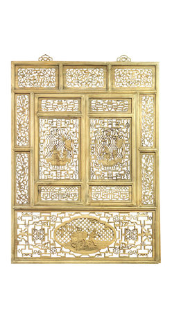 "China Furniture and Arts - Cedar Wood Window Shutter - It was once seen on houses of old Zhe Jiang Province, China. Reproduced with the skill of master craftsmen, this intricately hand carved panel will serve as a centerpiece in any room. Top panels are carved with Chinese characters meaning ""Longevity"", ""Wealth"" and ""Good Luck"". Brass hangers included."