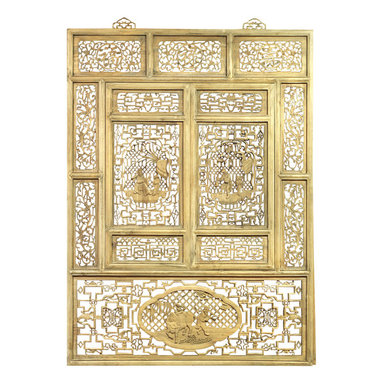 """China Furniture and Arts - Cedar Wood Window Shutter - It was once seen on houses of old Zhe Jiang Province, China. Reproduced with the skill of master craftsmen, this intricately hand carved panel will serve as a centerpiece in any room. Top panels are carved with Chinese characters meaning """"Longevity"""", """"Wealth"""" and """"Good Luck"""". Brass hangers included."""
