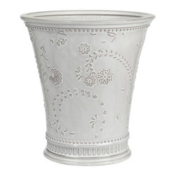 Creative Bath Products - Eyelet Wastebasket by Creative Bath Products Multicolor - EYE54WW - Shop for Wastebaskets from Hayneedle.com! Add beautiful casual elegance to your bathroom decor with the Eyelet Wastebasket by Creative Bath Products. This lovely wastebasket is made from ceramic and has a white wash finish with a floral pattern.About Creative BathFor over 30 years Creative Bath has developed innovative stylish bathroom decor items. They have grown exponentially and now you can find their products in major retail and online stores around the world. From shower curtains to soap dishes and everything in between Creative Bath brings you high quality items to enhance your lifestyle.