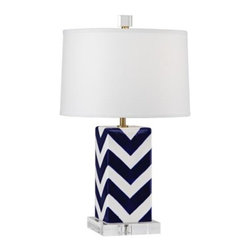 Santorini Stripes Accent Lamp - Mary McDonald does chevron like no one else! With a sharp white parchment shade, this lamp would make a statement in any room.