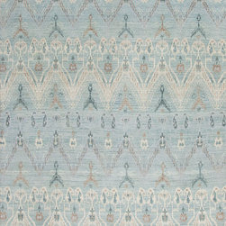 Light Blue Ikat Rug - Fine hand knotted Indian Ikat with exotic motif and ancient roots made out of quality wool.