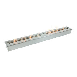 "Ignis Products - EB6200 Ethanol Fireplace Burner - Heating your home is simple, easy, and clean when you use this EB6200 Ethanol Fireplace Burner Insert in your own fireplace design or your existing fireplace. This versatile double-layered fireplace burner is sleek and modern - and ready to replace your existing wood-burning insert to give your family warm, comforting heat while also efficiently heating your space in an eco-friendly fashion. It holds an amazing 18 liters of fuel, and it can operate for a burn time of around 12 hours between fills, so you can leave it on all night and everyone will be warm and cozy. Dimensions: 62 1/4"" x 7 5/8"" x 4 5/8"". Features: Ventless - no chimney, no gas or electric lines required. Easy or no maintenance required. Capacity: 18 Liters. Approximate burn time - 12 hours per refill. Approximate BTU output - 18000. Double Layer."