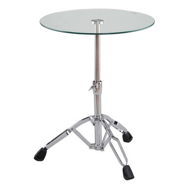 Eurostyle - Eurostyle Drum Round Glass Side Table w/ Chromed Steel Column - Round Glass Side Table w/ Chromed Steel Column belongs to Drum Collection by Eurostyle Resembling the design of a snare drum, this accent table will bring a jazzy, contemporary accent to your living room. The Drum End Table - Tempered Glass/Chrome features a durable tempered glass table and a chrome-finished base. The three adjustable tripod legs provide a sturdy and versatile base for this accent table. The shaft can be height-adjusted to complement the height of your sofa, chair, or other furnishings. The round clear glass top gives the table its classic finishing touch. Cleanup is a snap with glass cleaner and a soft cloth. Side Table (1)