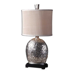 Uttermost - Uttermost Harrison Silver Table Lamp in Nickel Plate - Shown in picture: Nickel Plated With A Matte Black Base. This lamp is constructed of small - nickel plated squares with a matching finial and a matte black base. The oval drum shade is heavily pleated - ivory linen textile.