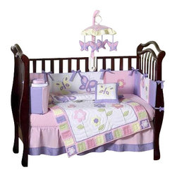 Sweet Jojo Designs - Butterfly Pink & Lavender 9-Piece Crib Bedding Set - Outfit your baby's bedding in soft blossoms and butterflies, with this lovely pink and lavender garden themed crib set. Included is everything you need to create an inviting environment for your baby's sleep: A comforter, bumper, fitted sheet, dust ruffle, diaper stacker, toy bag, decorative pillow and two window valances.