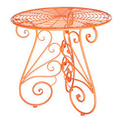 Urban Home Vintage Garden Table in Tangerine - This beautiful 1950's replica table will be the center of attention in any garden or entry please cover when not in use.