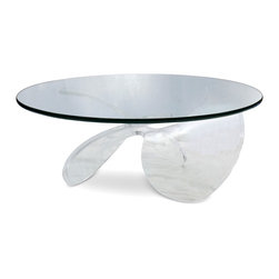 Lucite Propeller Base Cocktail Table with Glass Top - Base: 32 diam x 16 h; Top: 42 diam x 1 thick