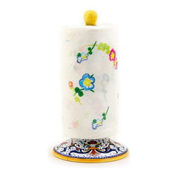 Artistica - Hand Made in Italy - Ricco Deruta: Upright Towel Paper Roll Holder - Ricco Deruta: Artistica's Ricco Deruta is the true original version of the most celebrated Deruta's design, which traces its origins to the sixteenth century.