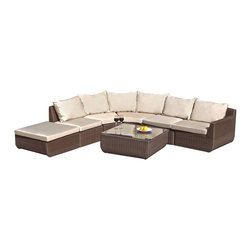Great Deal Furniture - Brentwood 7pc Outdoor Brown Wicker Sectional Set - If you're looking to make a major upgrade to your outdoor enjoyment, the Brentwood 7-piece Outdoor Sectional Set is the first place to start. Enjoy the outdoors again with out stylish PE wicker sectional set that includes two armless chairs, two corner chairs, a left arm chair, ottoman and table with glass. Provide your friends and family plenty of space to relax and enjoy the outdoors.