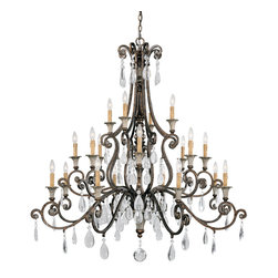"Savoy House - St.Laurence 20-Light Chandelier - This chandelier creates what we like to call a ""wow moment"". The crystal drops will tinkle with loveliness while the sturdy bronze structure in New Tortoise Shell will keep the form. Let your spirit soar every time you open the door."