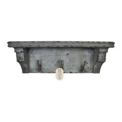 "Enchante Accessories Inc - Distressed Rustic Solid Wood Vintage Wall Shelf with Hooks (Distressed Grey) - These rustic shelfs feature distressed solid wood constructionVintage solid wooden shelf with casual country feelPerfect for""adding""function to your foyer or mud roomHanging hardware includedMeasures 27 in. Wide x 8 in. High x 7 in.DAn attractive and functional wall-mounted distressed Shabby Chic shelf for the home. Great for adding a touch of elegance for the home entry. These shelves are built out of pine in an antique, distressed fashion. This means that they have knots, imperfections, nail holes of the wood left in them so that they have an old appearance, even with the plain color of paint. Great for that ""worn"" look.. No assembly required. Mounting hardware included."
