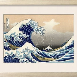 Artcom - Under the Wave off Kanagawa by Katsushika Hokusai - Under the Wave off Kanagawa by Katsushika Hokusai is a Framed Giclee Print set with a SHABBY CHIC Cream wood frame and a Soft White mat.