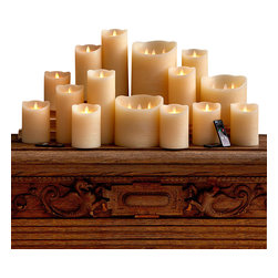Dazzler 18 Piece Flameless Candle Collection - With its realistically melted top, the Dazzler Flickering Candle offers the convenience and safety of LED mood lighting but doesn't lose the interest and romance of authenticity. A five-inch wax pillar candle in soft ivory with a classic, slightly antiqued outer texture, this piece fits most standard holders and hurricanes, providing a convincing look of flame in a large 18 piece collection that is ideal for use in an unused fireplace, a wedding or any special event that requires the ambiance of candles without the risk of actual flame.