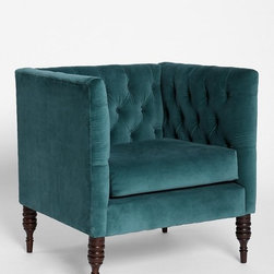 Plum & Bow Tufted Chair, Blue - This vintage-inspired, plush, tufted chair is just begging to be curled up in! Add a hot cup of tea, and I just might end up taking a nap.