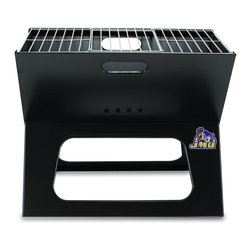 "Picnic Time - James Madison University X-Grill Folding Portable Charcoal BBQ Grill - The X-Grill is the folding portable charcoal BBQ grill with a slim line design. Compact and easy to assemble, the X-Grill provides a grilling surface of 203.5 sq. in. The X-Grill includes 1 electro-plated iron barbecue grill, 1 chrome-plated tri-fold cooking grate (18.5"" x 11"") and 1 charcoal grate (all stored conveniently inside the folded grill), and 1 durable 600D polyester carrying tote. So why be confined to your backyard? With the X-Grill, you can take the BBQ wherever you want to go!; College Name: James Madison University; Mascot: Dukes; Decoration: Digital Print; Includes: 1 electro-plated iron barbecue grill, 1 chrome-plated tri-fold cooking grate (18.5"" x 11"") and 1 charcoal grate (all stored conveniently inside the folded grill), and 1 durable 600D polyester carrying tote."