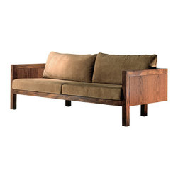 "Sao Conrado - ""São Conrado"" sofa with unaligned front and back legs, giving the piece a sense of visual lightness. Available in a variety of FSC-certified woods. Part of the Etel collection."