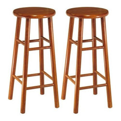 "Winsome - ""Winsome Wood Assembled Bar Stools (Set of 2), Cherry, 30"""""" - ""Solid wood construction bar stool. Bevel seat provides comfort seating. Cherry FinishDimensions (W x L x H): 13"""" x 13"""" x 29""""Weight: 56 lbs.All purpose beechwood stools in cherry finish, rounded seat.Sold in Set of 2, Fully AssembledSitting Comfortably in your kitchen/bar on this StoolAvailable in 24-Inch or 29-Inch Height"""