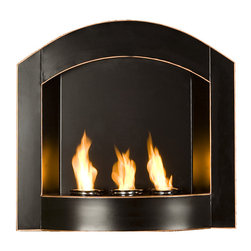Holly & Martin - Topher Wall Mount Arch Fireplace - Enliven any space with this wall mount gel fuel fireplace. This piece is small enough to go anywhere and can be hung as easily as a picture. The attractive arch top of this fireplace stands out against any wall making it a definite eye catcher. Finished in matte black with copper edges revealed from distressing, the finish is designed to fit well with both contemporary and transitional styling. This wall mount fireplace will hold up to 3 cans of gel fuel providing a rich fiery glow perfect for relaxation. Each can lasts up to 3 hours on a single burn and puts off up to 3,000 BTU's. Gel fuel must be purchased separately. This wall mount fireplace also makes a convenient and unique space for burning and displaying candles simply by placing the included snuffer cover on top of the gel fuel can openings.