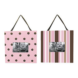 Trend Lab - Tred Lab Maya Crib Bedding Set - Frame Set - Display your favorite memories with this Maya Frame Set by Trend Lab. One frame features a polka dot print in bubblegum pink and chocolate. The second frame features a stripe print in bubblegum pink chocolate brown caramel and white. Each frame measures 11 x 11 and holds a 4 x 6 photo. Frames come with brown satin ribbon and keyhole on the back for hanging.