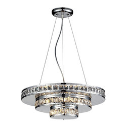 Z-Lite - Z-Lite Ariel Chandelier X-HC388 - Bands of crystal set into oval rings of highly polished chrome glitter with light from within. The inversely stacked decks of chrome and crystal make this contemporary chandelier an interesting center piece.