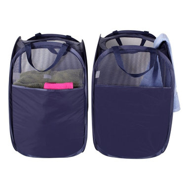 StorageIdeas - StorageIdeas®Foldable Pop-Up Mesh Laundry Hamper with Carry Handles, Pack of 2 - Features:
