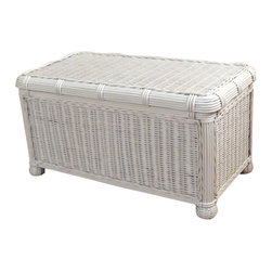 Wicker Paradise - Savannah Small Wicker Trunk - The Savannah Wicker Storage Trunk small Size is perfect for storage of toys,blankets and linens. It features inside wood lining to protect your linens and delicate items. Wicker bun feet and a distinctive rattan braid add charm to this quite functional and versatile item.