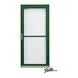 Pella® Fullview storm door in Hartford Green - Pella Fullview storm doors feature interchangeable full glass and full screens — use the one you want to control your light, view and ventilation.