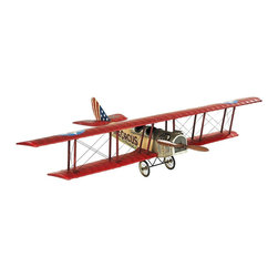 Authentic Models - Medium Flying Circus Jenny Model Airplane - Made of Wood, Fabric, and Metal. Red, Blue, and Tan Finish. 20.1 in. W x 31.5 in. D x 7.1 in. HJennies conquered the nation after the close of WWI. Stunts, sightseeing by the half hour, postal, even circus flights taking off.