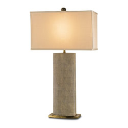 Currey and Company - Rutherford Table Lamp - A beautiful porcelain lamp in a faux sharkskin finish. The shade is beige silk and the lamp has brass accents.
