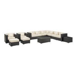 LexMod - Advance Outdoor Wicker Patio 11 Piece Sectional Sofa Set in Espresso with White - Preside steadfastly at each assembly as concurrent movements take you forward. The Advance Outdoor Sectional Set brings you to a place of carefully considered output and restorative order. Embrace a homeostatic system where precise handiwork help you attain true collectivity.