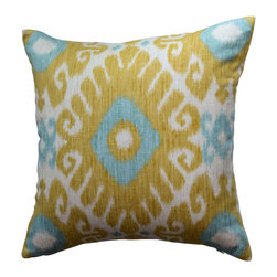 KH Window Fashions, Inc. - Shades of Yellow, Green and Ivory Ikat Decorative Pillow, With Insert - Shades of Yellow, Green and Ivory Ikat Pillow. Perfect to toss on your bed or sofa.