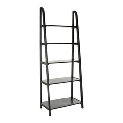 Safavieh - Devona Etegere - Inspired by the classic library ladder, the Devona has a contemporary A-line profile with five shelves that increase to a slim 15.9 inches at the base.  Display favorite photos, keepsakes, books and more on this clean transitional piece crafted of pine in distressed black finish.