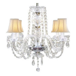 The Gallery - Murano Venetian Style All-Crystal Chandelier with Shades - Transform your decor with the unsurpassed elegance of this Venetian style chandelier. Crystal strands and drops cascade like a fountain of shimmer, while champagne-colored shades make the perfect finishing touch.