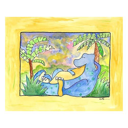 Oh How Cute Kids by Serena Bowman - Life is good Napping Dino, Ready To Hang Canvas Kid's Wall Decor, 16 X 20 - Life is good! NAPPING IS GREAT!
