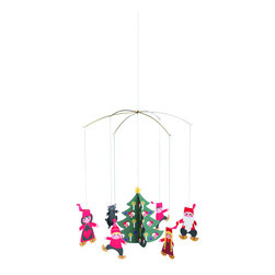 Flensted Mobiles - Pixy Family Mobile - Time to trim the tree! Celebrate Christmas Scandinavian-style with this playful holiday mobile while you nibble on some gingerbread cookies.