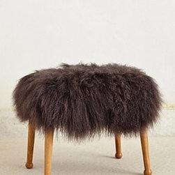 "Anthropologie - Luxe Fur Stool - One of a kindNatural finishMonoglian sheepskin, wool; oakwood frameSpot clean18""H, 19.75""W, 15.5""DImported"